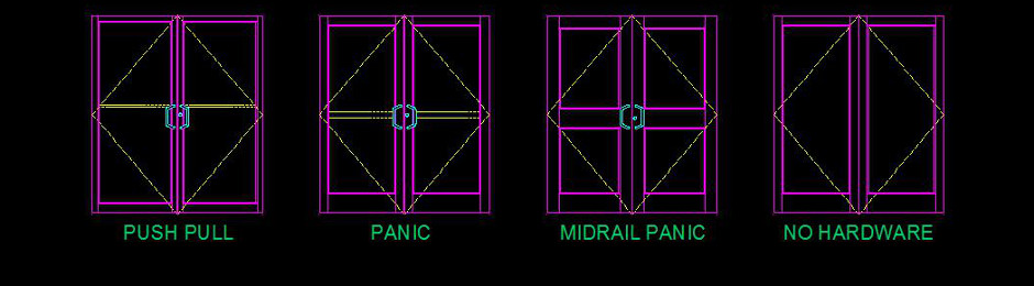 one YKK Door Block Pair is Narrow Medium or Wide stile and four different hardware configutations & CADDtools general CAD help